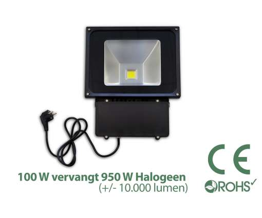 Groene Led Bouwlamp 100 watt beveiliging