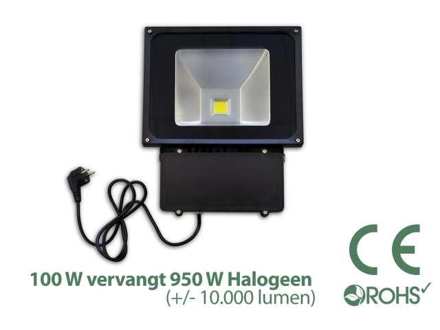 Groene Led Bouwlamp 100 watt beveiliging - Light by leds